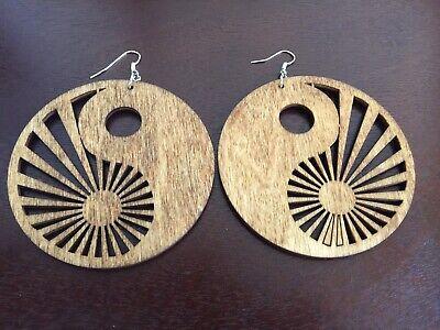 YIN YANG AFRICA GOLDEN BROWN Afrocentric Wood Earrings Golden Brown Earring