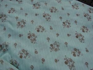 6-YARDS-OF-VINTAGE-GREEN-COTTON-FABRIC-WITH-BROWN-FLORAL-PRINT