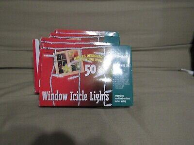Everg(set of 4) Window Icicle Lights Evergolw Indoor Each 50 lights, 8 foot long