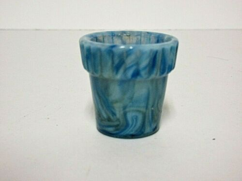 "Striking Alley Agate 1 1/4"" Thumb Pot / Blues, Olives, Grays, Cream / Signed"