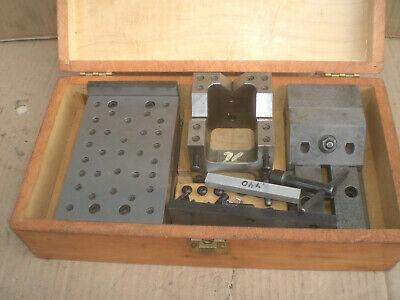 3 Piece Herman Schmidt Set Grinding Vise  Sign Plate  V Block With Wood Case