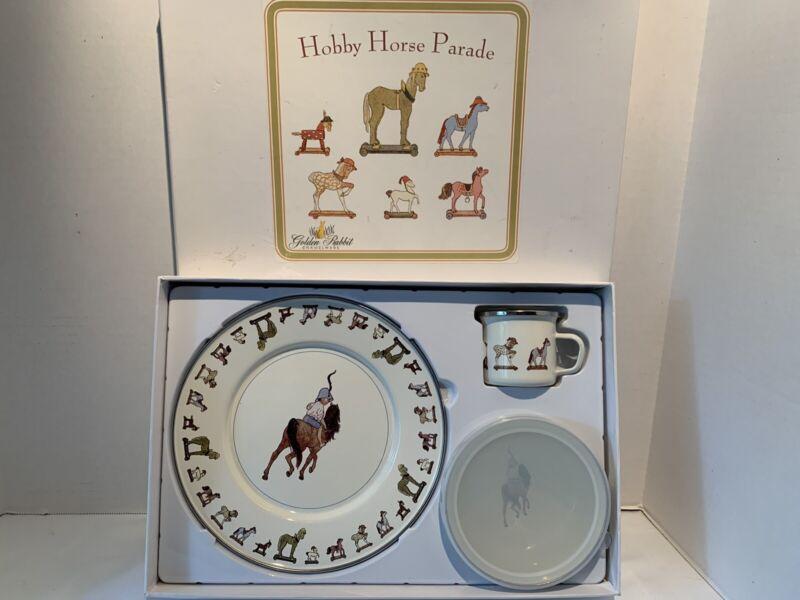 Golden Rabbit Hobby Horse Parade 3 Piece Enamelware Baby Plate Bowl Cup Set Vtg