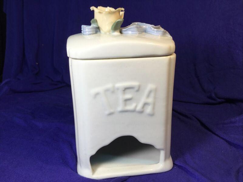 Ceramic Tea Bag Dispenser With Raised Flower And Ribbon On Lid