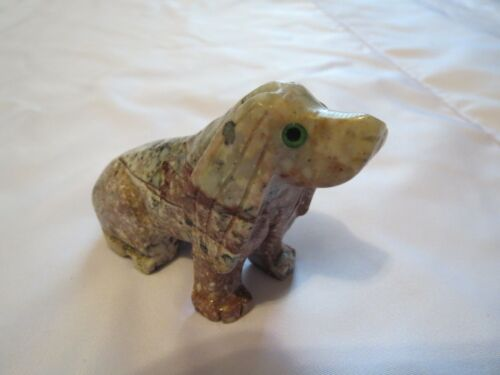 Peruvian Hand carved Soapstone Puppy DOG sitting Figurine