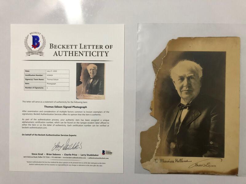 Thomas Edison Signed Autographed Photo BECKETT BAS LOA