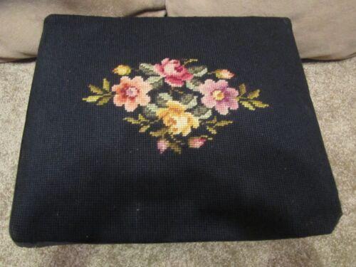 Vintage Embroidered Foot Stool Black Brown Legs Wood