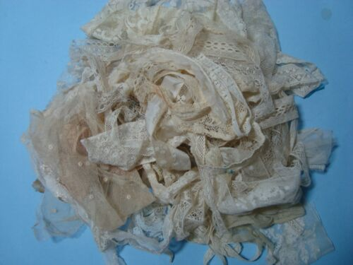 VINTAGE & ANTIQUE LACE SCRAPS, FOR DOLL DRESSING TRIMS OR CRAFT PROJECTS