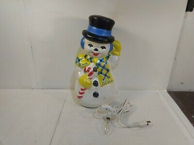 Vintage Ceramic Light Up Snowman With Candy Cane Christmas Decoration ch2702