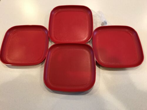 "NEW TUPPERWARE MICROWAVABLE PLATES (4) 8"" UNBREAKABLE FOR KIDS CHERRY RED"