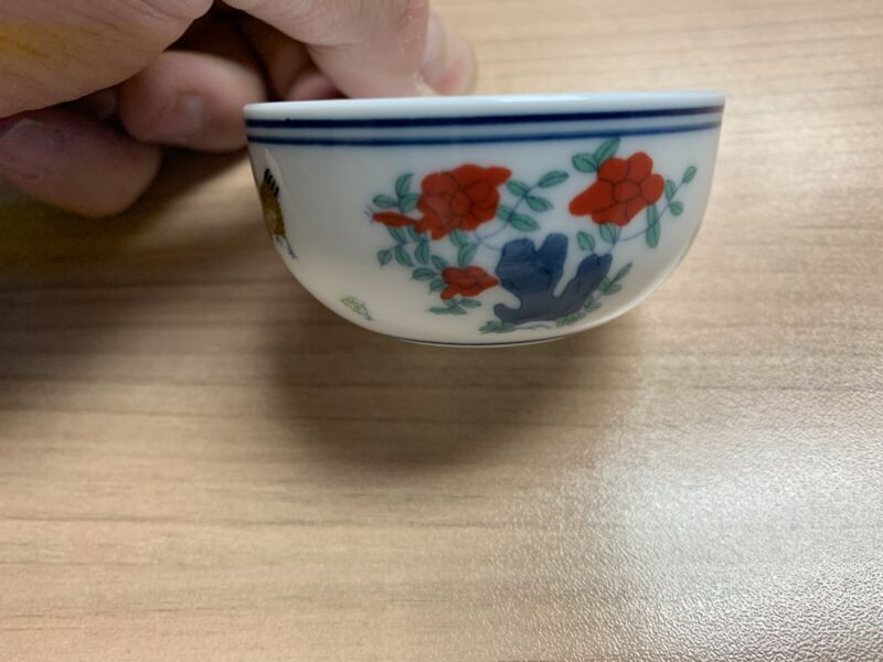 Chinese chenghua mark Porcelain ceramic doucai painting chicken flower Tea cup