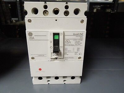 Ge Record Plus Fbn36te020rv 20a 3p 600v Circuit Breaker W Panel Connectors Used