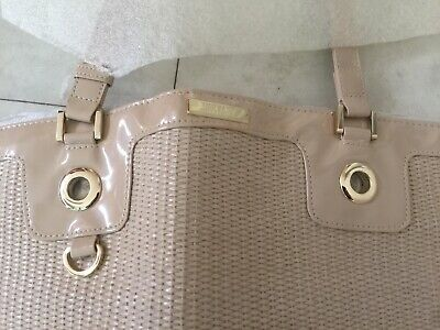 VERSACE PARFUMS LARGE STRAW TOTE BAG WITH PATENT DETAILS NUDE