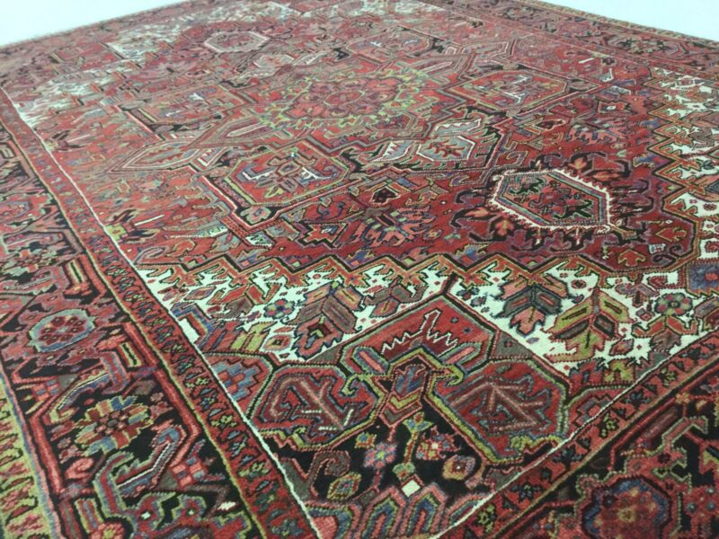 7.8 X 10.7 Red Black Persian Heriz Oriental Rug Geometric Hand Knotted Iran Wool