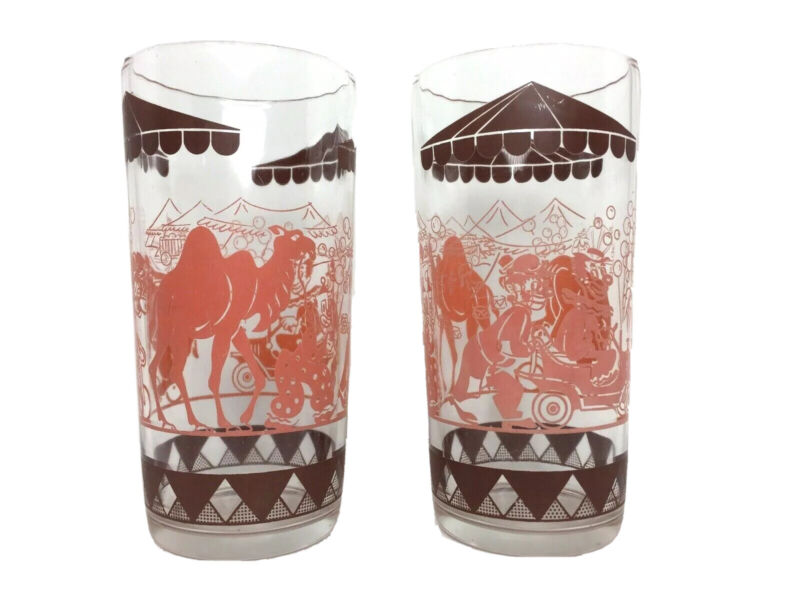 TWO Big Top Circus Swanky Swig Glasses Drinking Tumbler Bartlett Collins Pink