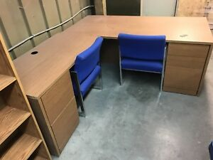 Office desks, credenza, computer cabinets, shelves, chairs