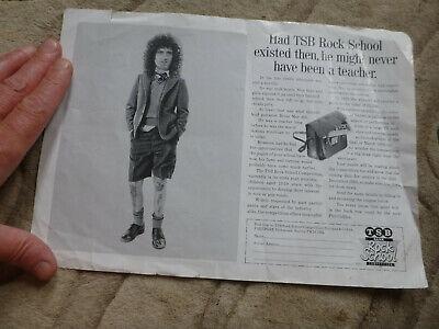 Queen band group music memorabilia old Brian May advert  TSB rock  guitarist