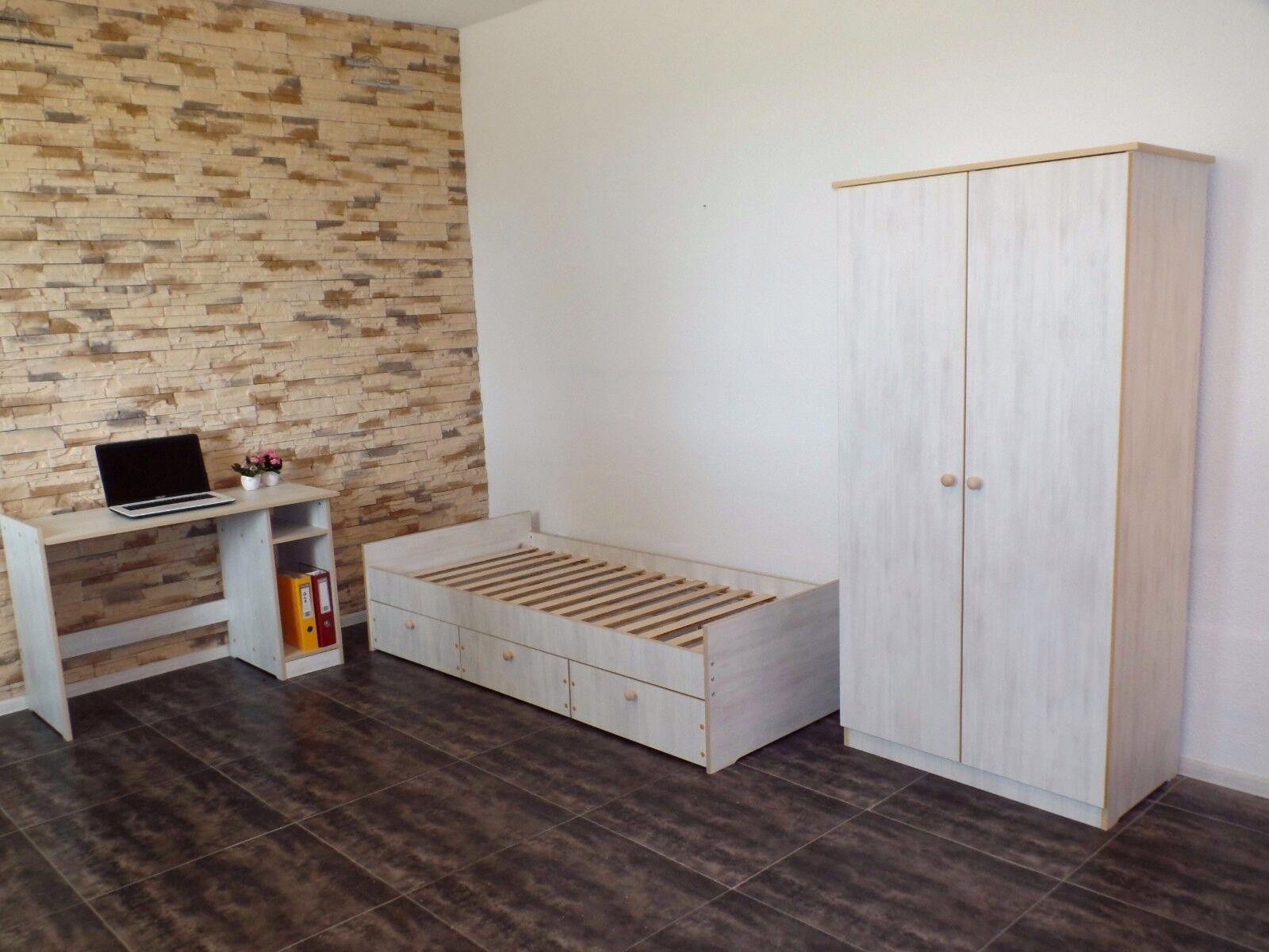 Funktionsbett 90x200 grau  Jugendbett 90x200 Funktionsbett Einzelbett Kojenbett WEIß-GRAU ...