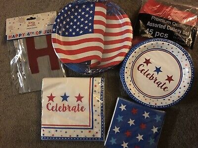 4th of July Party Tableware. Plates, Napkins, Utensils, Banner. Patriotic-for 15 - 4th Of July Tableware