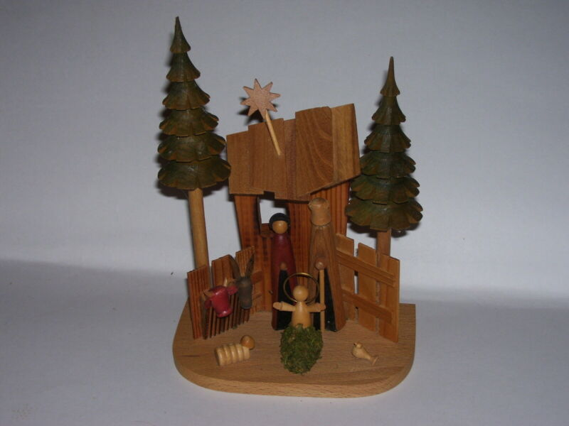 Carved Wood Modern Christmas Nativity Manger Scene