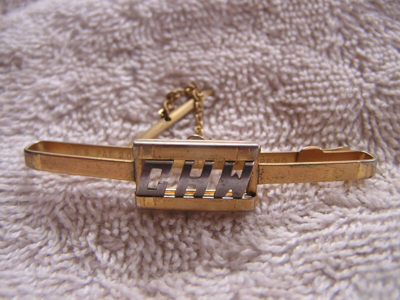 """Vintage Swank Tie Tack Clip Clasp with Initials """"CHW"""""""