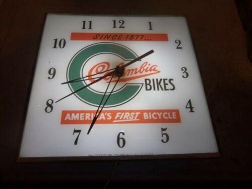 Vintage  Pam clock  lighted Columbia Bicycles