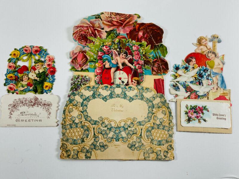 Antique vtg Valentines 41 Lot of (3) German Diecut Embossed LRG cards folding