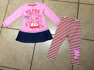 NWT Cartoon Pig Go Team Cheerleader or Floral Striped Leggings Outfit Size 4/5
