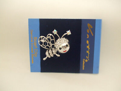 Cute Bee Brooch Silver Coloured, Black Enamel And Clear Crystal Stones New