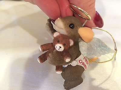 """Charming Tails """"BABY ANGEL WITH TEDDY BEAR """"  MOUSE CHRISTMAS ORNAMENT"""