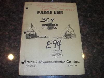 Hendrix Dragline Buckets 3yd 3 Yard Parts Manual Book Catalog