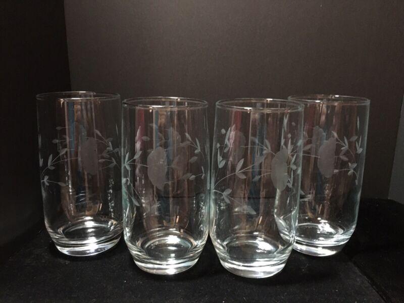 Set Of 4 Vintage Princess House Etched Water Glasses