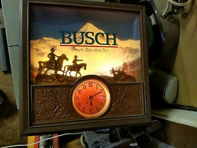 """Vintage Busch Beer Western Cowboy Themed Lighted 3D Clock Sign 13.5"""" X 13.5"""""""
