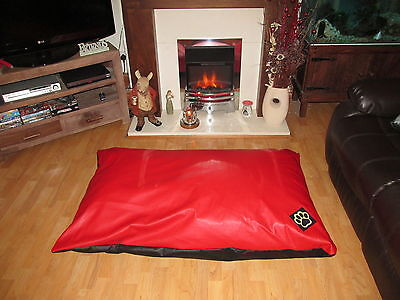EXTRA LARGE WATER RESISTANT RED FAUX LEATHER XL DOG BED PET BED DOGBED PETBED