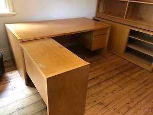 Desk Return Credenza and Shelving SOLID WOOD St Kilda East Glen Eira Area Preview