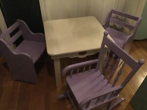 Purple kids dining table and 2 chairs