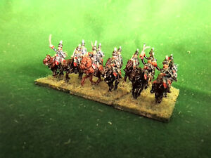 15mm Napoleonic British Hussar Cavalry, 12 painted wargame figures
