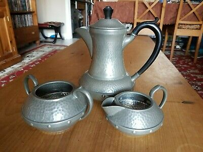 Pewter Coffee Set Craftsman Sheffield Arts And Crafts Hammered Style 3 Pieces