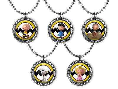 5 PEANUTS Charlie Brown & Snoopy 3D Bottle Cap Necklace Birthday Party Favors - Snoopy Party Favors
