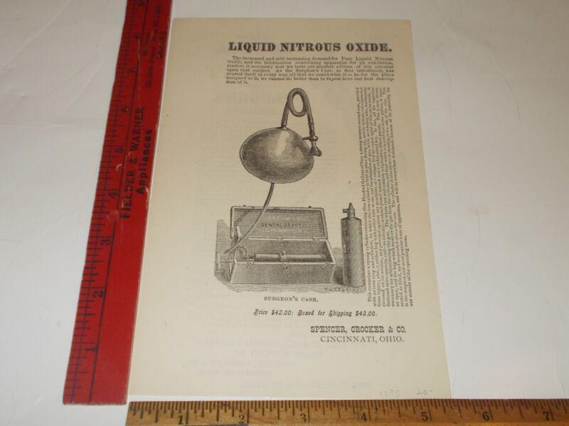 Rare Orig VTG 1875 Liquid Nitrous Oxide Dentist Apparatus Advertising Art Print