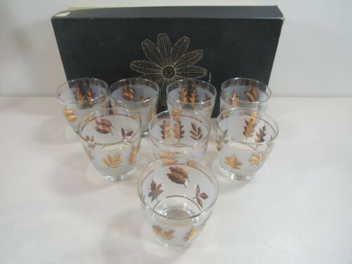 Set of 8 Libbey Hostess 9 oz. Old Fashioned Golden Foliage Tumblers in Box
