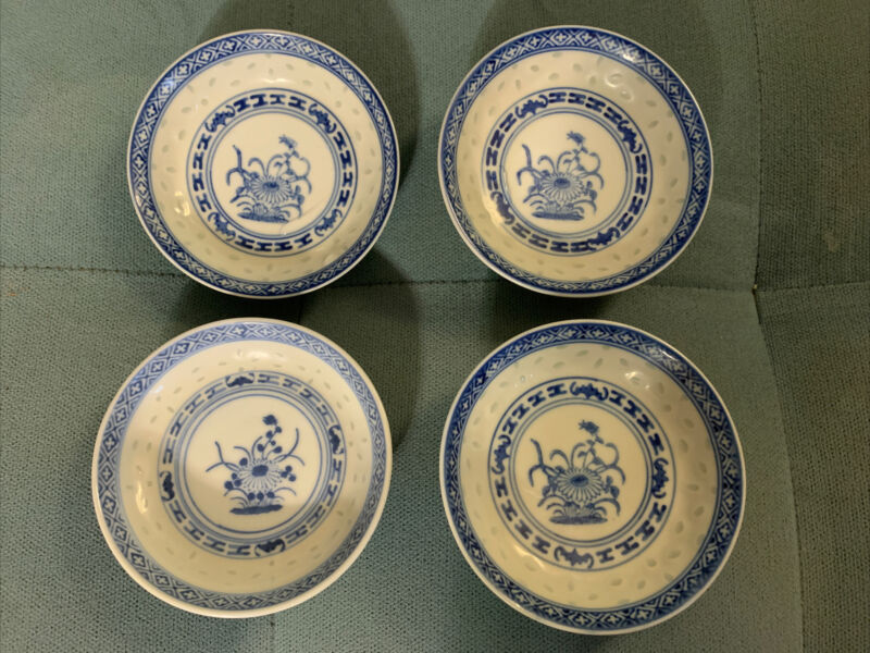"4 Chinese Wanyu Blue & White Floral Lotus Flower Rice Eyes 4"" Bowls Dishes"