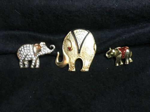 LOT 3 VINTAGE ELEPHANT PIN BROOCH LAPEL PIN JEWELRY ENAMELS RHINESTONE MODERNIST