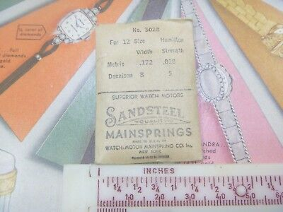New Old Stock Sansteel 3028 Hamilton 12 Size Pocketwatch Mainspring- N/R!!