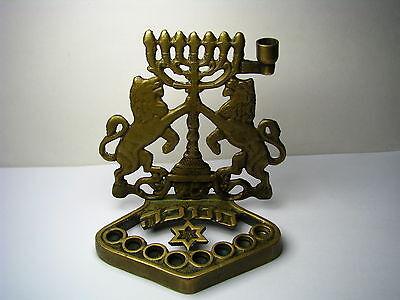 CONTINENTAL BRASS HANUKKAH MENORAH CHANUKAH LAMP 19th Century Judaica Rare!