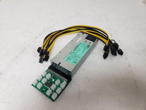 HP 1200W ETH ASICS Bitcoin Crypto Mining Power Supply PSU w/ Breakout Board