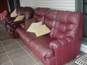 3 seater leather lounge with 2 recliners burgundy/brown colour Wauchope Port Macquarie City Preview