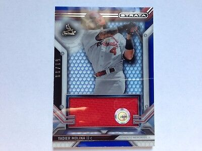 Yadier Molina 2016 Topps Strata Blue Authentic Memo. Jersey Card #/99 St.Louis