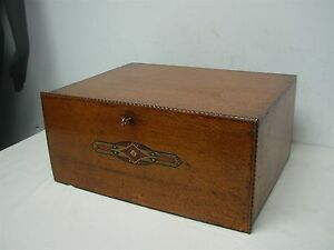 antique wood silver flatware storage chest box locks w 3 drawers lovely inlay. Black Bedroom Furniture Sets. Home Design Ideas