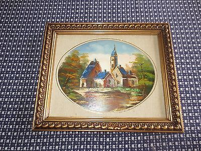 P. KLAUS Signed COUNTRY BUILDINGS CHURCH Original Framed OIL PAINTING--10