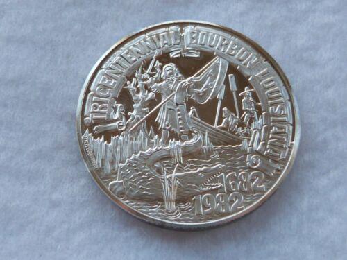 "1982 REX FINE 999 SILVER MARDI GRAS DOUBLOON ""TRICENTENNIAL BOURBON LOUISIANA"""